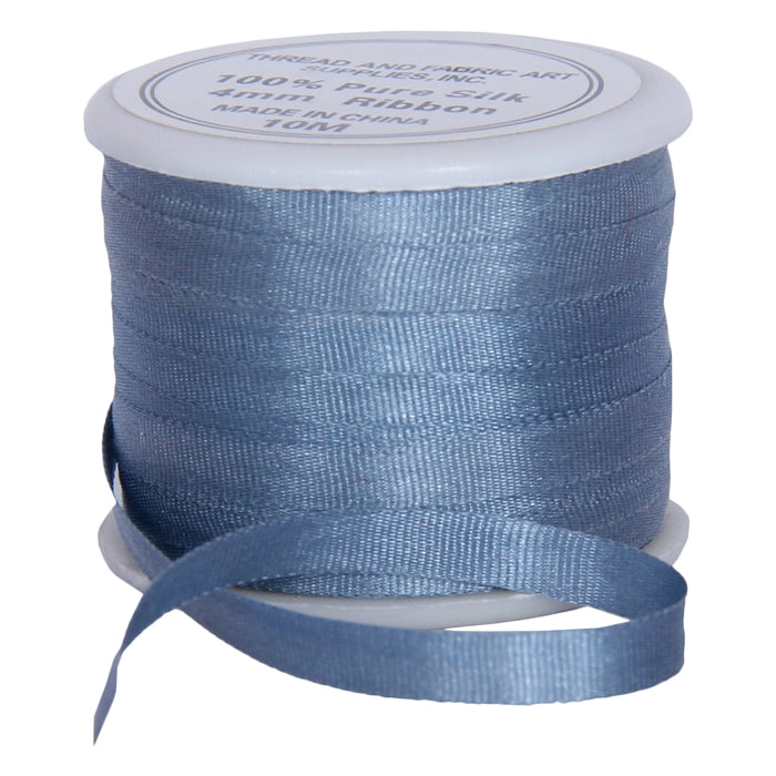 Silk Ribbon 4mm Slate Blue x 10 Meters No. 012 - Threadart.com