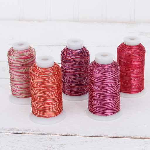 Variegated Multicolor Polyester Embroidery Thread Set - 5 Red Shades - Threadart.com