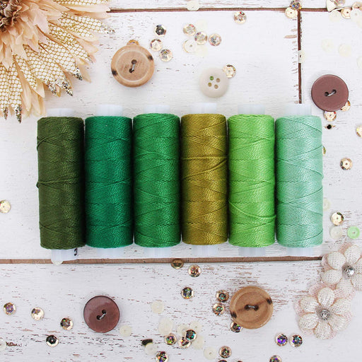 Pearl Cotton Thread Set Green Shades - Threadart.com