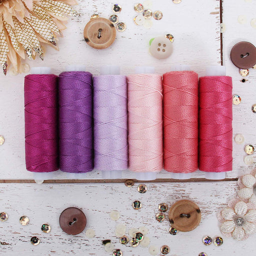Pearl Cotton Thread Set Purple/Pink Shades - Threadart.com