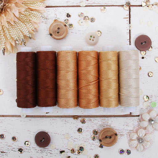Pearl Cotton Thread Set Brown Shades - Threadart.com