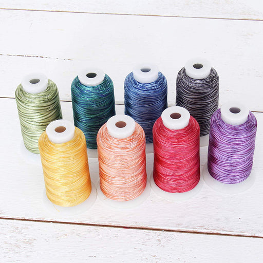 Variegated Multicolor Polyester Embroidery Thread Set - 8 Tonal Colors - Threadart.com
