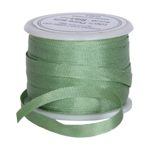 Silk Ribbon 4mm Nile Green  x 10 Meters No. 240 - Threadart.com