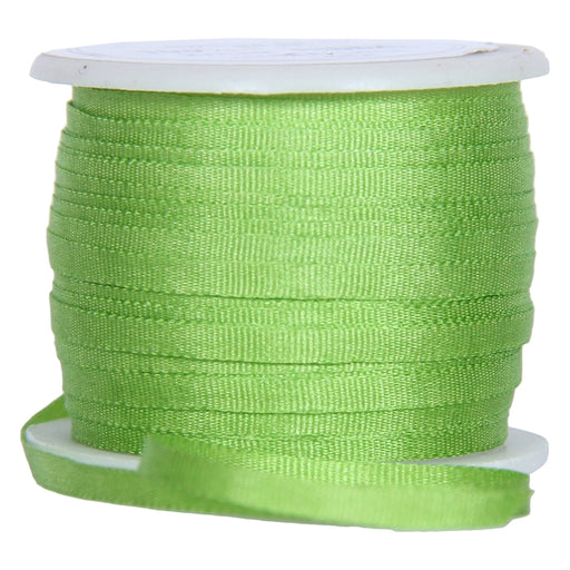Silk Ribbon 2mm Lime Green x 10 Meters No. 642 - Threadart.com