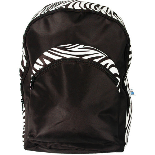 Large Backpack - Black/Zebra - Threadart.com