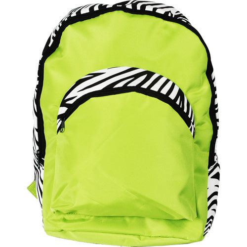 Large Backpack - Lime Green/Zebra - Threadart.com