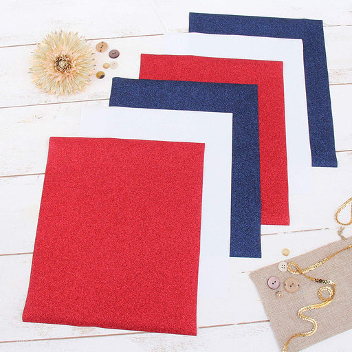 "6 Red White & Blue 10"" x 12"" Glitter Heat Transfer Vinyl Precut Sheets - Threadart.com"