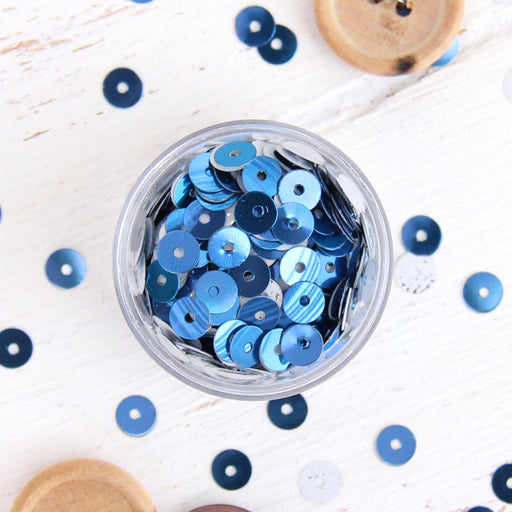 HotFix Loose Sequins - 6MM Blue Metallic - Threadart.com