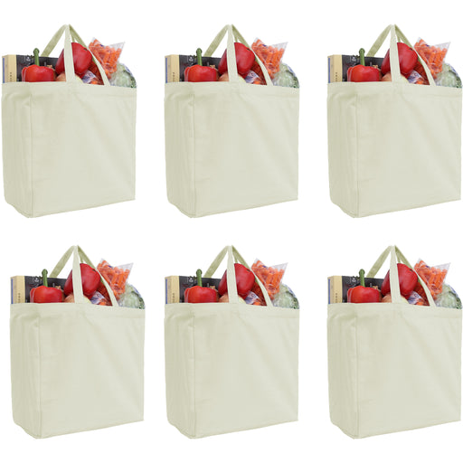 Six Pack of Canvas Totes - Natural - 100% Cotton - 14x14x7.5 - Threadart.com