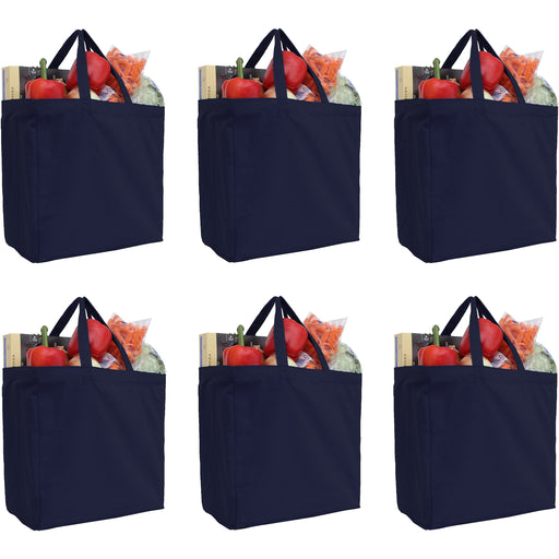 Six Pack of Canvas Totes - Navy - 100% Cotton - 14x14x7.5 - Threadart.com