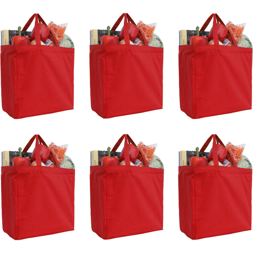 Six Pack of Canvas Totes - Red - 100% Cotton - 14x14x7.5 - Threadart.com