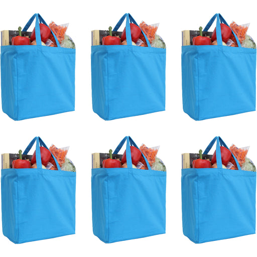 Six Pack of Canvas Totes - Turquoise - 100% Cotton - 14x14x7.5 - Threadart.com