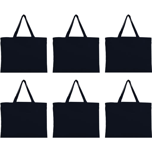 Six Pack of Canvas Totes - Black - 100% Cotton - 12x16 - Threadart.com