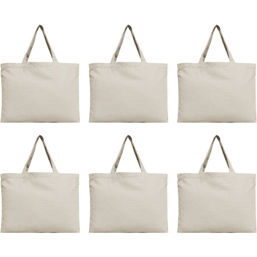Six Pack of Canvas Totes - Natural - 100% Cotton - 12x16 - Threadart.com