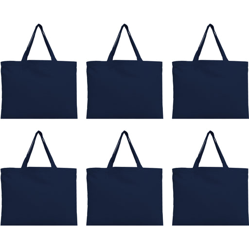 Six Pack of Canvas Totes - Navy - 100% Cotton - 12x16 - Threadart.com