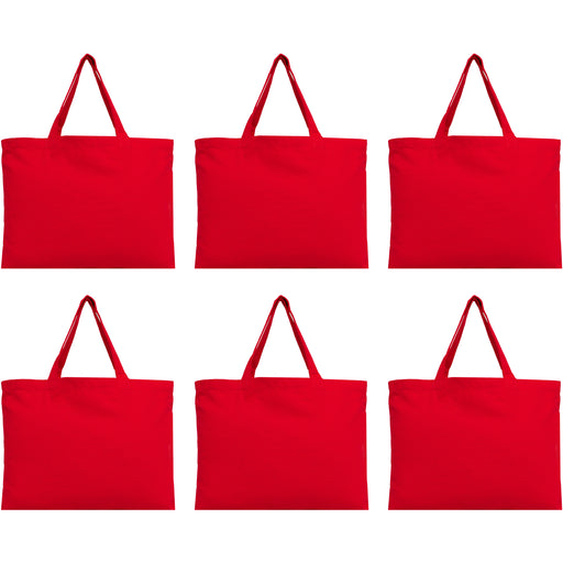 Six Pack of Canvas Totes - Red - 100% Cotton - 12x16 - Threadart.com