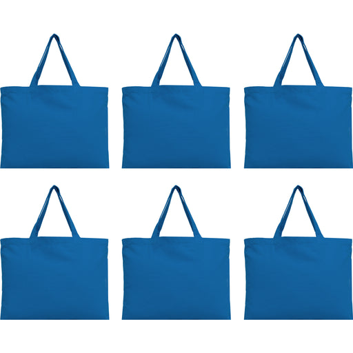 Six Pack of Canvas Totes - Royal Blue - 100% Cotton - 12x16 - Threadart.com