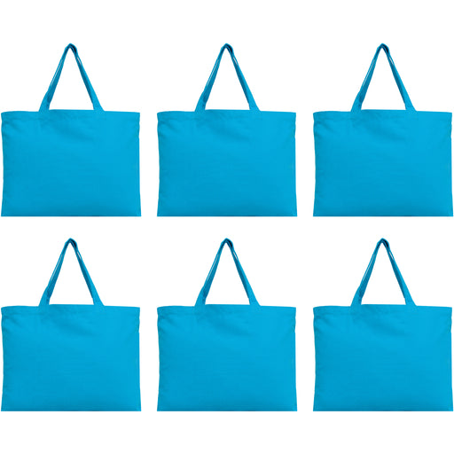 Six Pack of Canvas Totes - Turquoise - 100% Cotton - 12x16 - Threadart.com