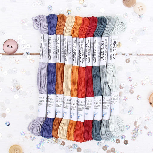Premium Cotton Embroidery Floss Set in 10 Autumn Harvest Colors - Six Strand Thread - Threadart.com