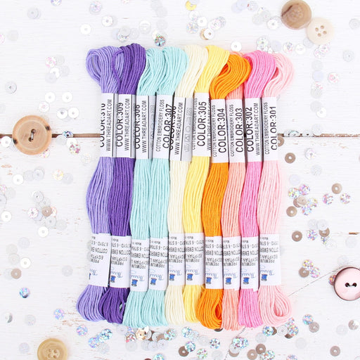 Premium Cotton Embroidery Floss Set in 10 Fun Confetti Colors - Six Strand Thread - Threadart.com