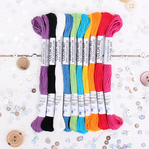 Premium Cotton Embroidery Floss Set in 10 Rainbow Bright Colors - Six Strand Thread - Threadart.com