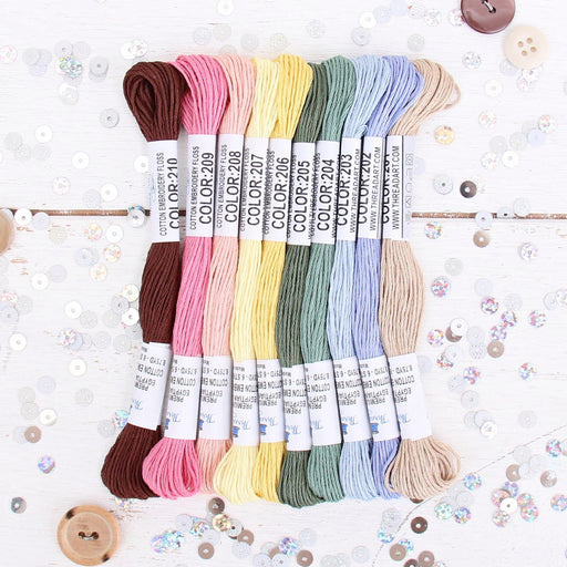 Premium Cotton Embroidery Floss Set in 10 Secret Garden Colors - Six Strand Thread - Threadart.com
