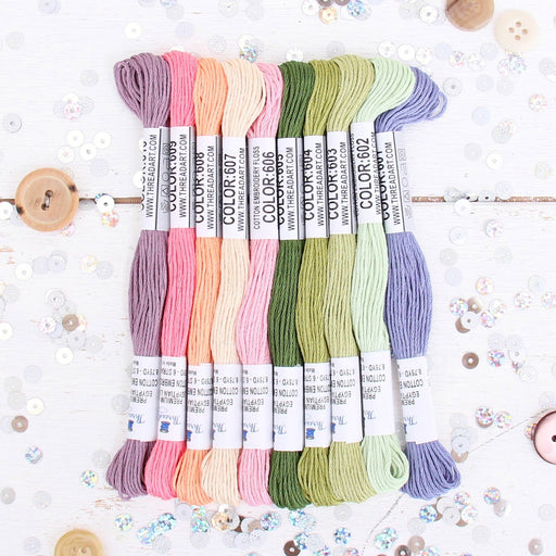 Premium Cotton Embroidery Floss Set in 10 Spring Flowers Colors - Six Strand Thread - Threadart.com
