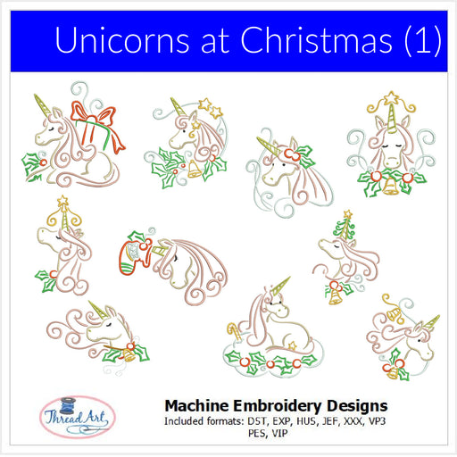 Machine Embroidery Designs - Unicorns at Christmas - Threadart.com