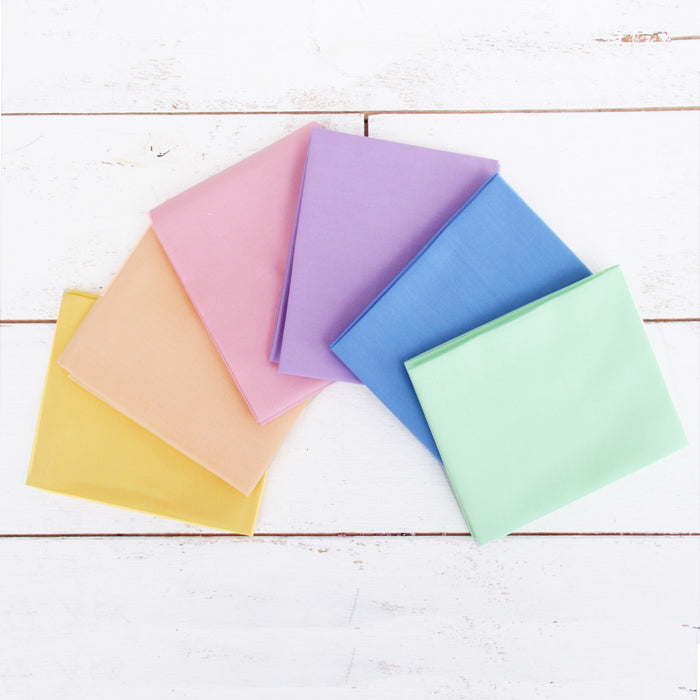 Six Fat Quarter Bundle - Pastel Solid Colors - Threadart.com