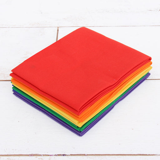 Six Fat Quarter Bundle - Rainbow Solid Colors - Threadart.com