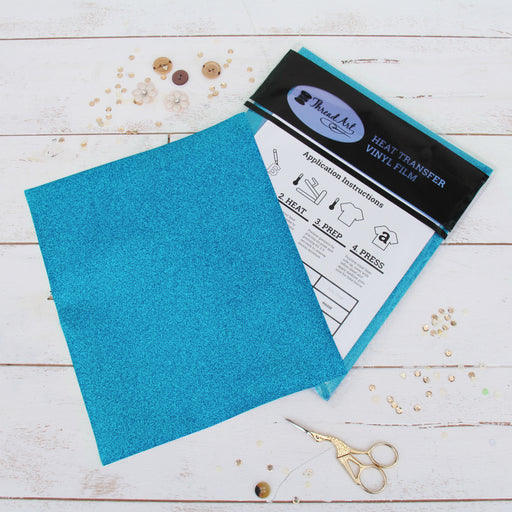"12 Sheets of Aqua Glitter Heat Transfer Vinyl - Pack of 10""x12"" Sheets - Threadart.com"