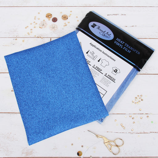 "12 Sheets of Blue Glitter Heat Transfer Vinyl - Pack of 10""x12"" Sheets - Threadart.com"