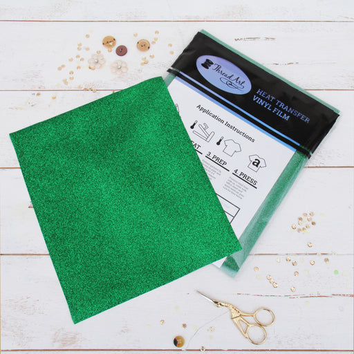 "12 Sheets of Green Glitter Heat Transfer Vinyl - Pack of 10""x12"" Sheets - Threadart.com"