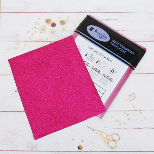 "12 Sheets of Hot Pink Glitter Heat Transfer Vinyl - Pack of 10""x12"" Sheets - Threadart.com"