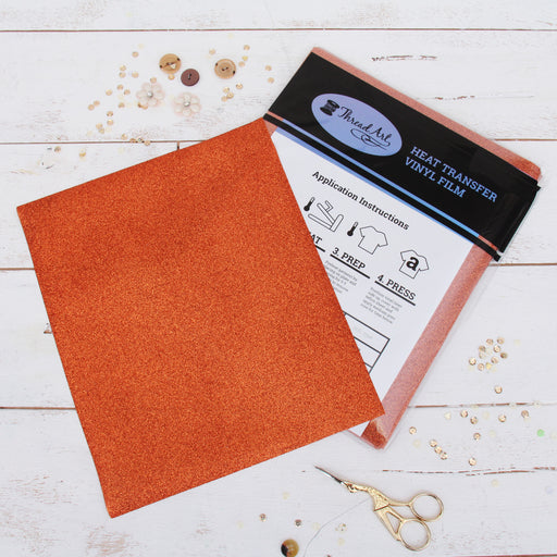 "12 Sheets of Copper Glitter Heat Transfer Vinyl - Pack of 10""x12"" Sheets - Threadart.com"