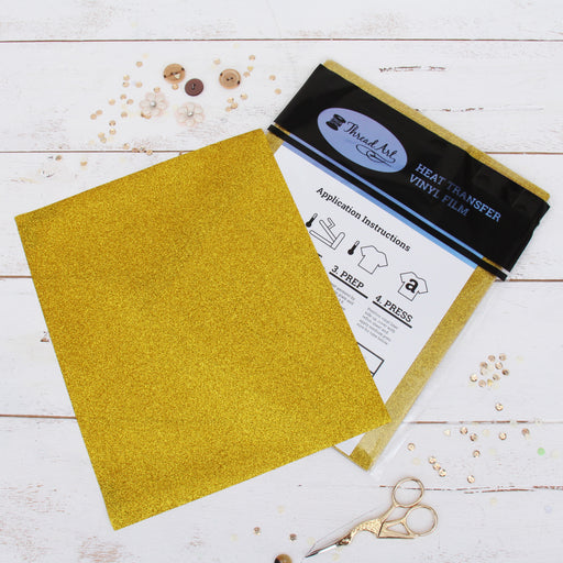 "12 Sheets of Gold Glitter Heat Transfer Vinyl - Pack of 10""x12"" Sheets - Threadart.com"