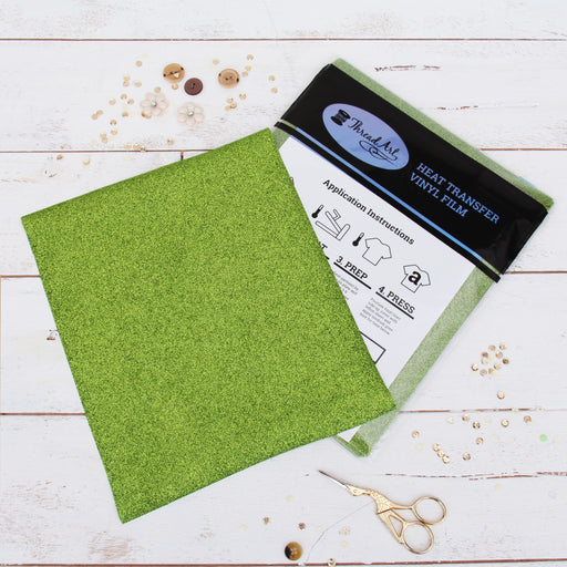 "12 Sheets of Light Green Glitter Heat Transfer Vinyl - Pack of 10""x12"" Sheets - Threadart.com"
