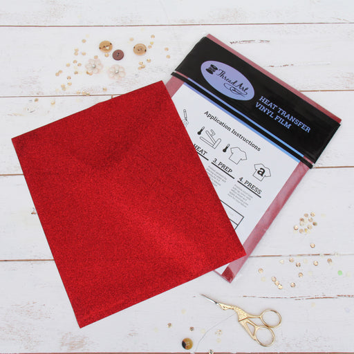 "12 Sheets of Red Glitter Heat Transfer Vinyl - Pack of 10""x12"" Sheets - Threadart.com"