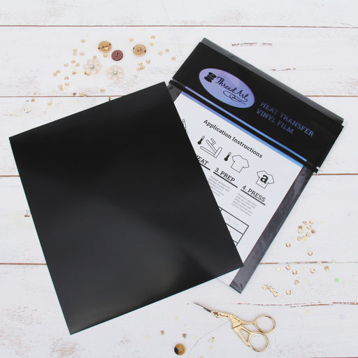 "15 Sheets of Black Heat Transfer Vinyl - Pack of  10""x12"" Sheets"