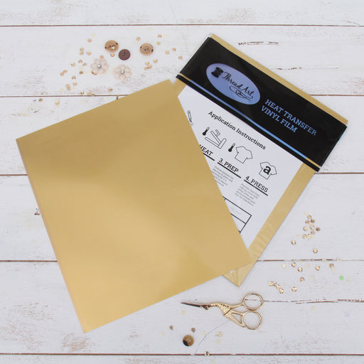 "15 Sheets of Gold Heat Transfer Vinyl - Pack of  10""x12"" Sheets"