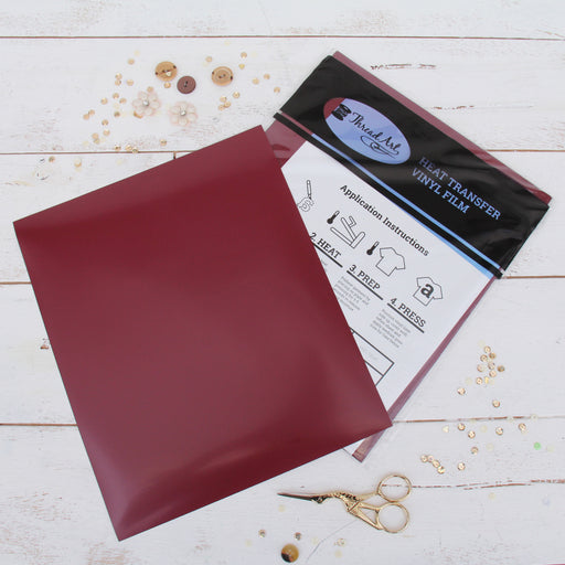 "15 Sheets of Maroon Heat Transfer Vinyl - Pack of  10""x12"" Sheets"