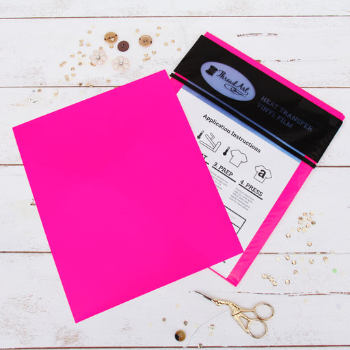 "15 Sheets of Neon Pink Heat Transfer Vinyl - Pack of  10""x12"" Sheets"