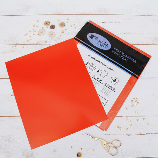 "15 Sheets of Orange Heat Transfer Vinyl - Pack of  10""x12"" Sheets"