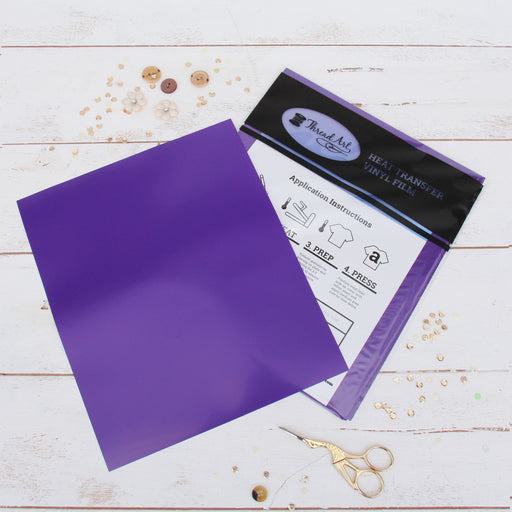 "15 Sheets of Purple Heat Transfer Vinyl - Pack of  10""x12"" Sheets"