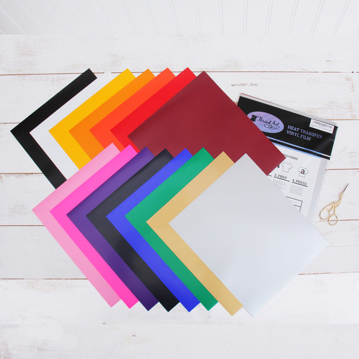 "Pack of 10""x12"" Sheets Rainbow Solid Color Heat Transfer Vinyl - Variety - 15 sheets - Threadart.com"