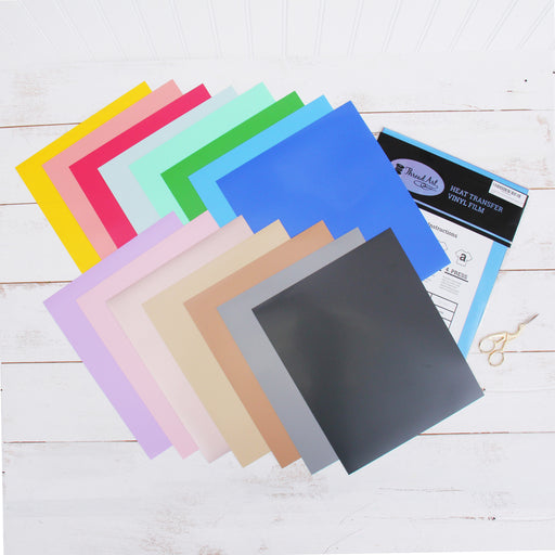 "Pack of 10""x12"" Sheets Pastel Solid Color Heat Transfer Vinyl - Variety - 15 sheets - Threadart.com"