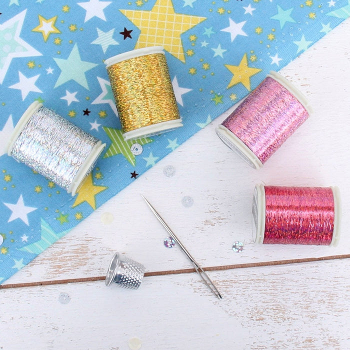 Sparkle Holographic Thread - 300 Meters - Silver - Threadart.com