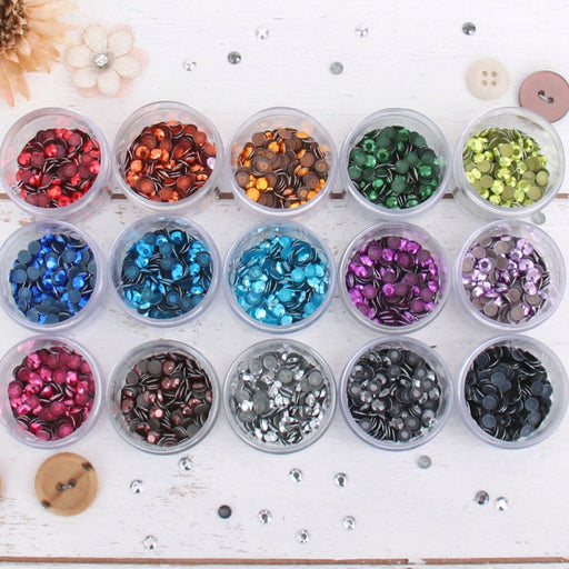 Hot Fix Metallic Rhinestones 6mm - 15 Color Set - Threadart.com