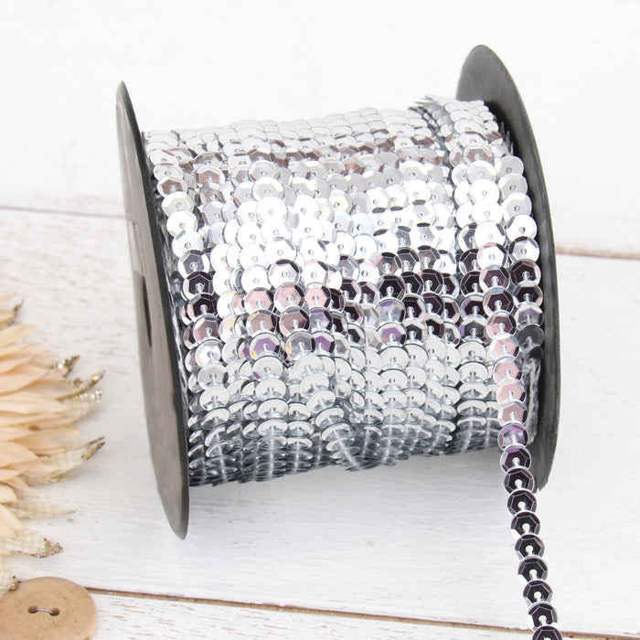6MM Sequin String 80YD Roll - Silver Faceted Metallic - Threadart.com