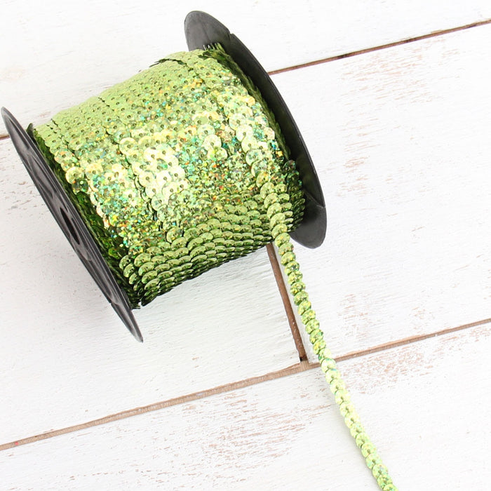 6MM Sequin String 80YD Roll - Lime Green Faceted LZ - Threadart.com